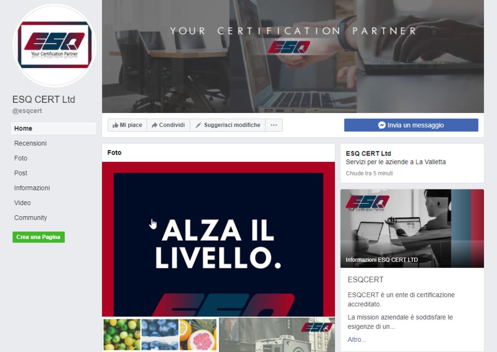 ESQ Cert Facebook Page